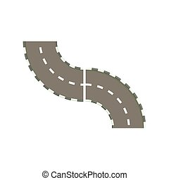 Curved road icon in cartoon style on a white background