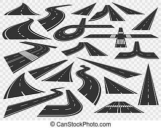 Curved road in perspective. Bending highways curves, rural bended asphalt and curving turn roads vector illustration set