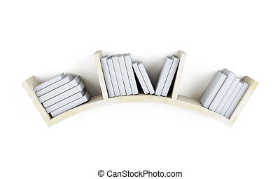 Curved shelf with books. 3d.