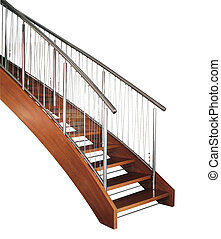 Modern wooden curved staircase with metal chromed and wire rails.