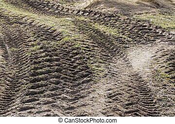 Curved tractor tracks in the mud