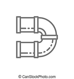 Curved tunnel for playground line icon.