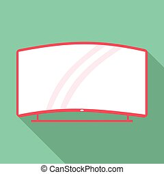 Curved TV icon, flat style