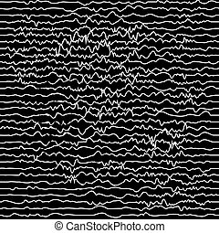 Curved white lines on dark, abstract geometric pattern
