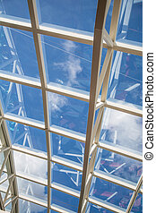 Curved White Steel Girders on Glass Ceiling