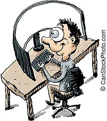 Curved Workstation - Cartoon of an office worker man sitting...