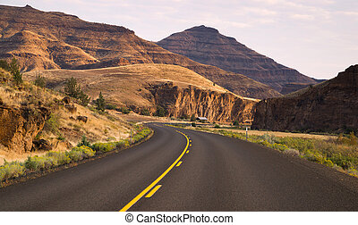 Curves Frequent Two Lane Highway John Day Fossil Beds - One...