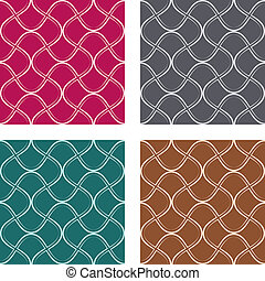abstract curves pattern in four different colours
