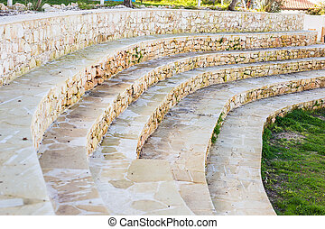 Curvilinear stairs. Top view of modern architecture detail...