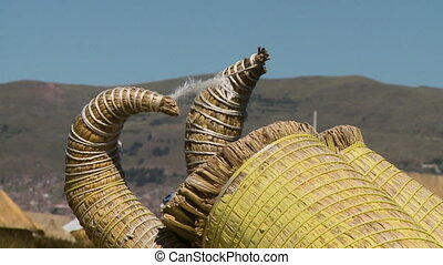 Curving Ends Of Reed Boats, Uros Island, Peru - Extreme...
