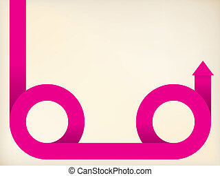 Curving pink arrow shaped ribbon