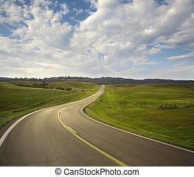 Curving road in the Black Hills of South Dakota