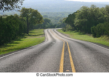 A curving highway in the Texas Hill Country