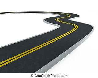 curvo, camino de asfalto