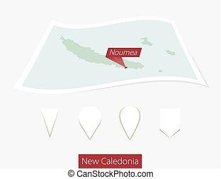 curvo, carta, mappa, di, nuova caledonia, con, capitale,...
