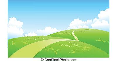 curvo, trayectoria, encima, paisaje verde