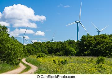 curvy, 鄉村的道路, 到, 風, 發電机, 區域