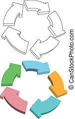 curvy, flechas, ciclo, reciclar, colores, dibujo