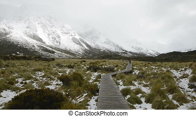 Curvy hanging pathway protects mountain ecosystem at Hooker...