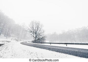 Curvy highway in a misty winter landscape