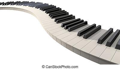 Curvy Piano Keys - A full set of regular piano keys laid out...
