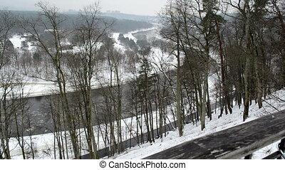curvy river floe winter - curvy river flow with floe...