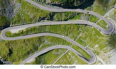 Curvy road in rocky mountain, Transfagarasan road in ...