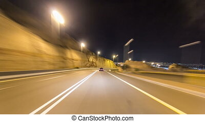 Curvy road through the Jebel Hafeet road timelapse...