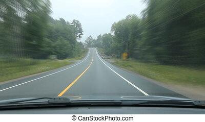 curvy, rural, temps, driving., lapse.