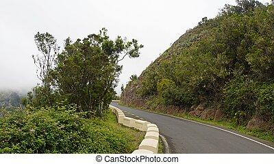 curvy serpentine roads in anaga mountains on tenerife