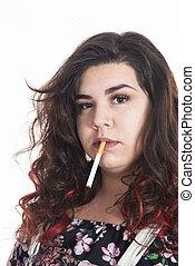 curvy young girl smoke a cigarette