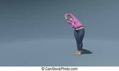 Curvy woman in half moon yoga pose loop able 4K - Young...