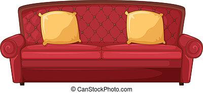cuscini, divano, rosso giallo