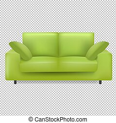 cuscini, fondo, verde, trasparente, divano, isolato