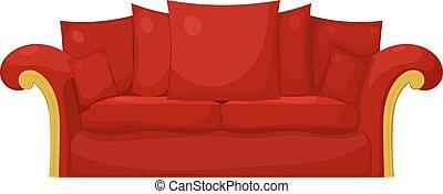 cuscini, isolate., divano, illustrazione, fondo., vettore, bianco rosso, casato