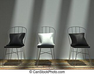 cuscini, sedie, metallo, soleggiato, nero, bianco
