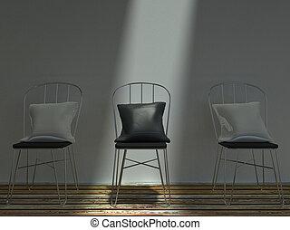 cuscini, sedie, metallo, tre, nero, bianco