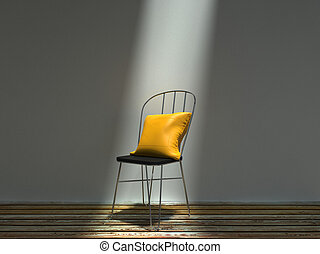 cuscino, sedia, metallo, comune, giallo