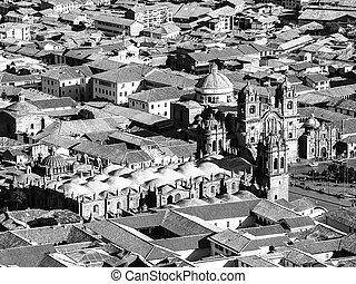 cusco, cathédrale, vue aérienne