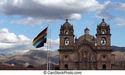 Cusco Flag Flying In Plaza Peru - Cusco Flag Flying Plaza De...