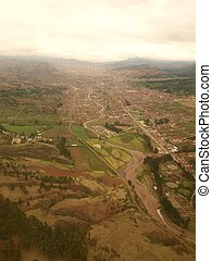 Cusco town view from above - Valley of Cusco town as seen ...