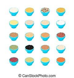 cuscus., gritz., millet, lentils., set., wheat., bol, peas., avoine, orge, riz, rouges, bulgur, nourriture, maïs, illustration, céréale, breakfast., buckwheat., sain, vecteur, haricots