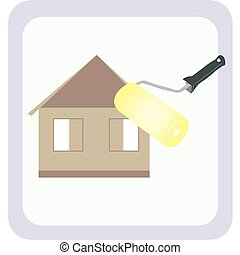 Cushion - Logo. The image of a house under construction, and...