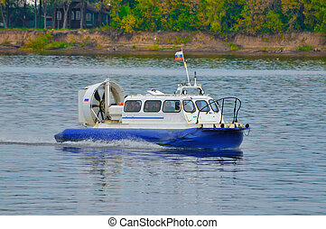Cushioncraft (hovercraft) in Volga river, Yaroslavl, Russia