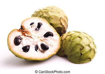 Custard apple or cherimoya isolated on white