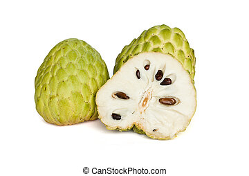 Custard-apple - Tropical custard apple fruit on white...