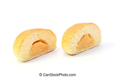 custard bread on white background