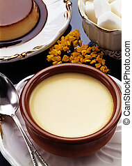 Custard with Caramel. Flan and Sugar - Creative cuisine with...