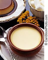Custard with Caramel. Flan and Sugar - Creative cuisine with...