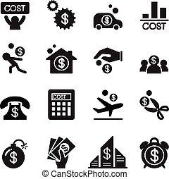 custo, jogo, negócio, ícone